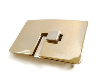 1970s Lanvin Belt Buckle Modernist Geometric Gold Silver