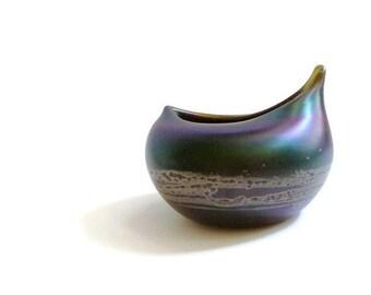 1970s Iridescent Art Glass Vessel by Michael Shearer