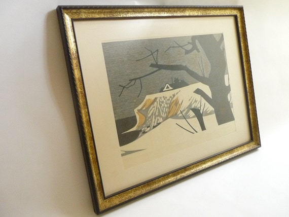 RESERVED -Kaoru Kawano Modernist Japanese Woodblock Print  Winter Mansion