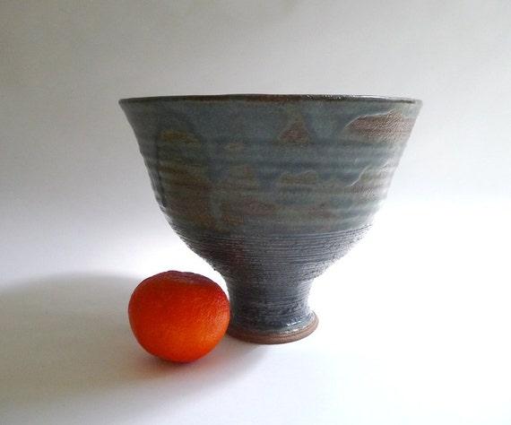 Large Modernist Handmade Studio Pottery Footed Fruit Bowl