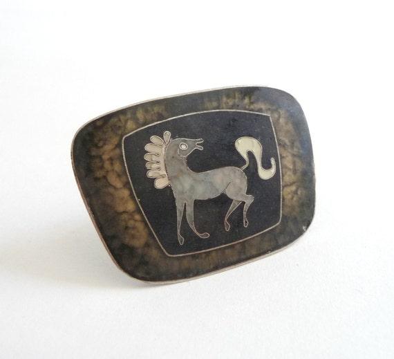 Mid Century 1950s Matte Cloisonne Enamel Horse Brooch  Perli Silver