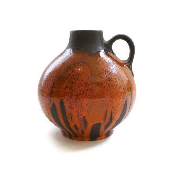 West German Pottery Drip Glaze Jug Vase by Steuler      Fat Lava  WGP