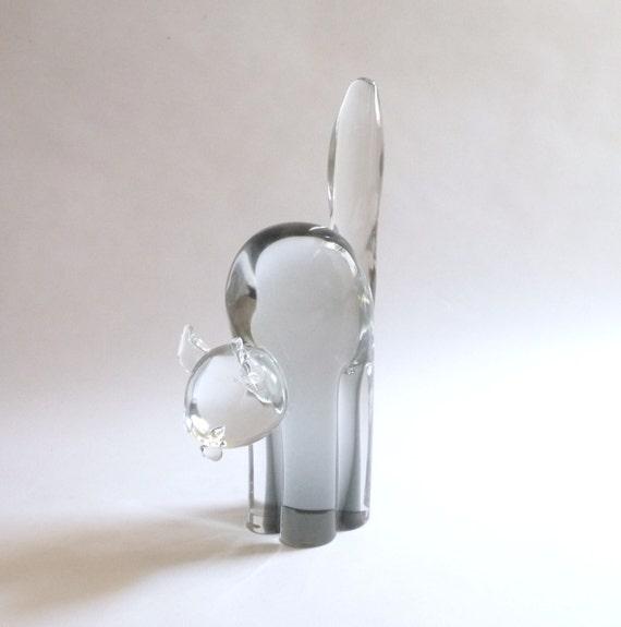 Modernist Crystal Cat Sculpture by Licio Zanetti