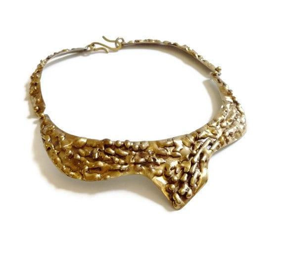 Handmade Modernist Dripped Brass Collar Necklace