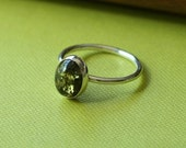 Green Amber Ring - Sterling Silver Gemstone - Size 2 to 15