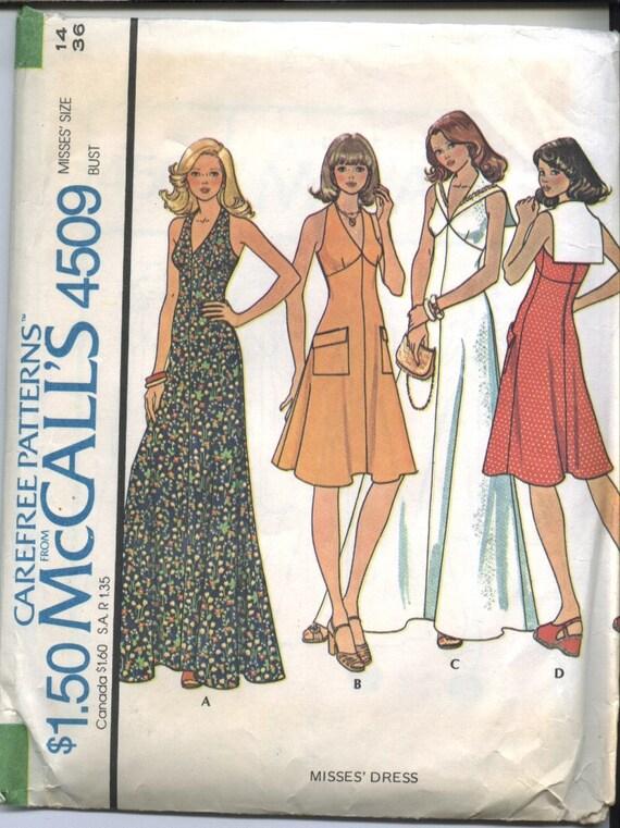 Free postage, Uncut 1975 McCalls halter dress sewing pattern size 14 dress