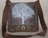 Patchwork Willow Tree Messenger Bag Chocolate Brown and Gray
