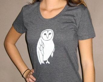Short Sleeve Scoop Neck Owl Tee Gray