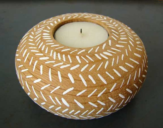 Hand painted wooden tea light candle holder herringbone