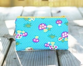 Zipper Pouch - Mushrooms on Blue
