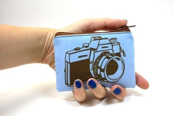 Blue Camera Coin Pouch