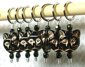 Large Size Stitch Markers -Set of 7- Black Cats