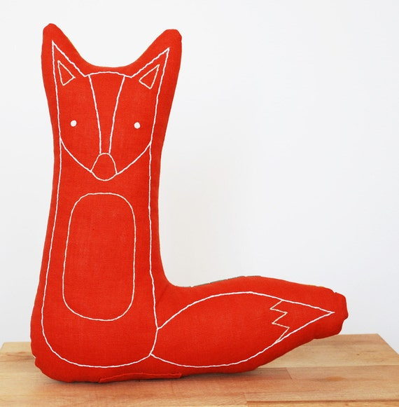 hand embroidered fox pillow in burnt orange