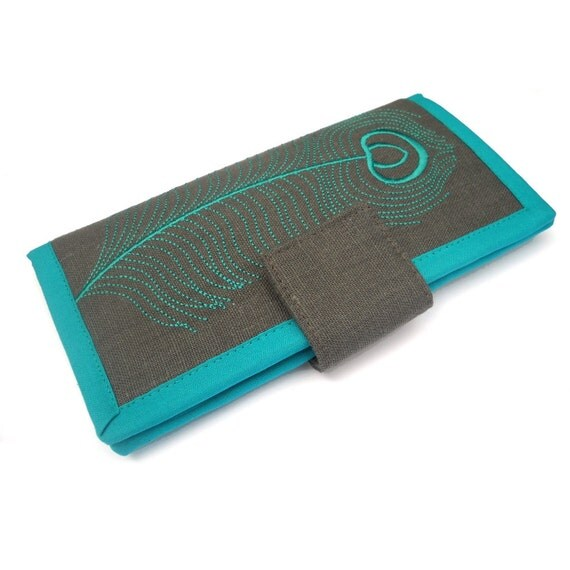 MADE TO ORDER | Womans Wallets | Long bifold wallet | Embroidered Teal Peacock Feather | Modern womens wallet | Gifts for women