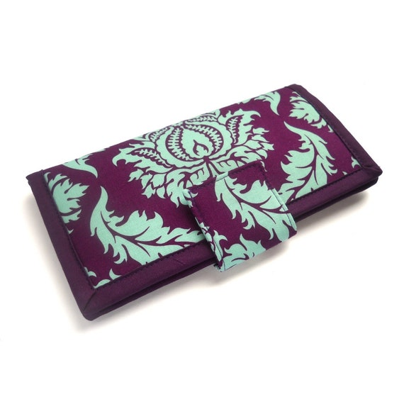 Handmade Womens Wallet in Robins Egg Blue Damask