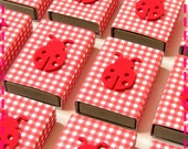LADYBUG PARTY FAVOR Matchbox Goodies - Party Pack of (20) Favors - Eco Friendly in Red and White Check - Recycled / Upcycled