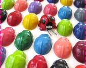 CHILDREN'S LADYBUG CRAYONS Recycled - Birthday Party Pack of (20) Favors - Red Yellow Pink Green Purple Orange Blue Turquoise Lime, Etc.