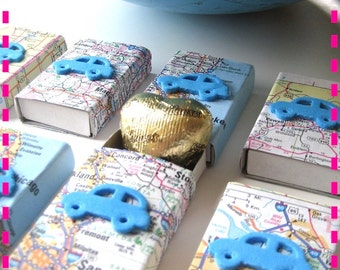 Wedding ROAD ATLAS Map Party Favor Matchbox Goodies, Recycled, Party Pack of  (20) Wedding Party Favors, Upcycled, Eco Friendly
