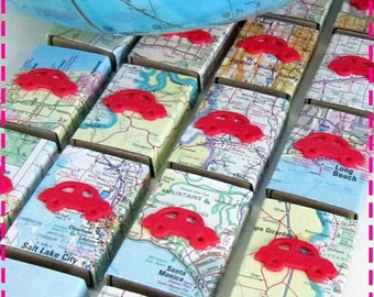 VINTAGE ROAD ATLAS Map Party Favor Matchbox Goodies - Party Pack of Twenty (20) Favors - Recycled / Upcycled - Eco Friendly Party Favors