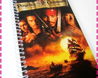 PIRATES of the CARIBBEAN VHS Movie Original Recycled Notebook / Upcycled Journal - Spiral Bound and Eco Friendly - Swashbuckling Fun