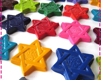 STAR OF DAVID Crayons Recycled Upcycled, Party Pack of Twenty (20), Jewish Party Favors, In Assorted Colors