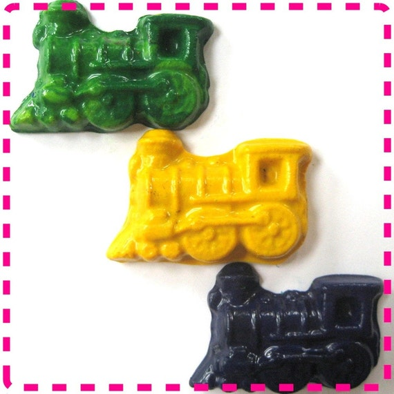 Recycled / Upcycled Train Shaped Crayons - Set of Four (4) - Eco Friendly