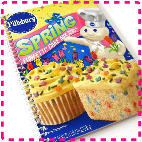 SPRING BIRTHDAY VANILLA Cake Mix - Original Recycled Notebook / Upcycled Journal - With Butterflies and Tulips - Eco Friendly - Moist