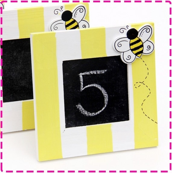 BUMBLEBEE Chalkboards Place Cards, Set of (5) Hand-Painted Free-Standing Placecards Food Signs Blackboards, Picture Frames