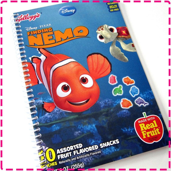 FISH FRUIT SNACKS Original Recycled Notebook / Upcycled Journal - Spiral Bound - Cherry Red, Purple Grape, Orange and Blue Strawberry