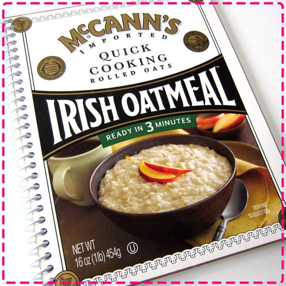 IRISH OATMEAL Original Recycled Notebook / Upccled Journal - Spiral Bound and Eco Friendly - In Purple and Yellow - Cheesy