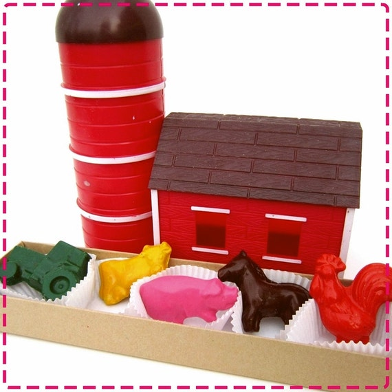 Kids' FARM CRAYONS, Coloring Party Favors, Tractor, Pig, Horse, Cow & Rooster, Birthday Party Toys, For Boys and Girls