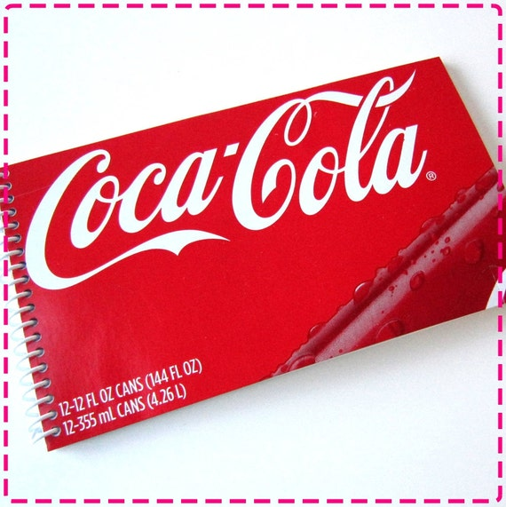 CLASSIC COLA / SODA Original Handmade Recycled Notebook / Upcycled Journal - In Red and White