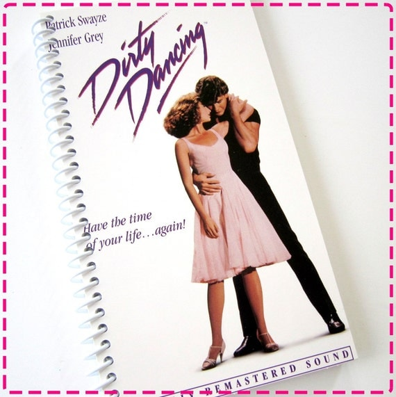DIRTY DANCING VHS Movie Video Original Recycled Notebook / Upcycled Journal - Spiral Bound and Eco Friendly - Circa 1997-