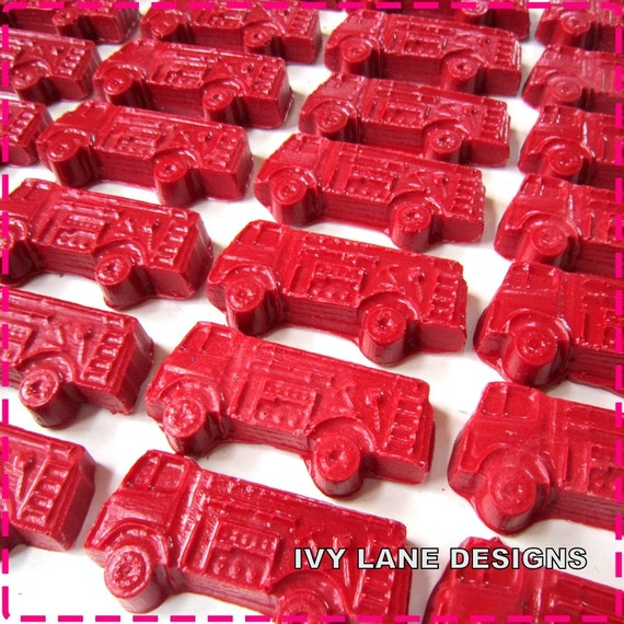 RED FIRE TRUCK Crayon Birthday Favors - Party Pack of (20) -  Also Avail. in Combo of Yellow, Orange, Blue, Green, Brown, Etc.