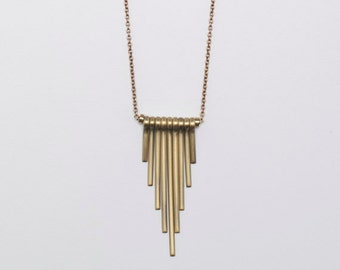 Obelisk Swinging Brass Bars Oxidized Chain Necklace // Holiday Gift for Her // Modern Minimalist Jewelry
