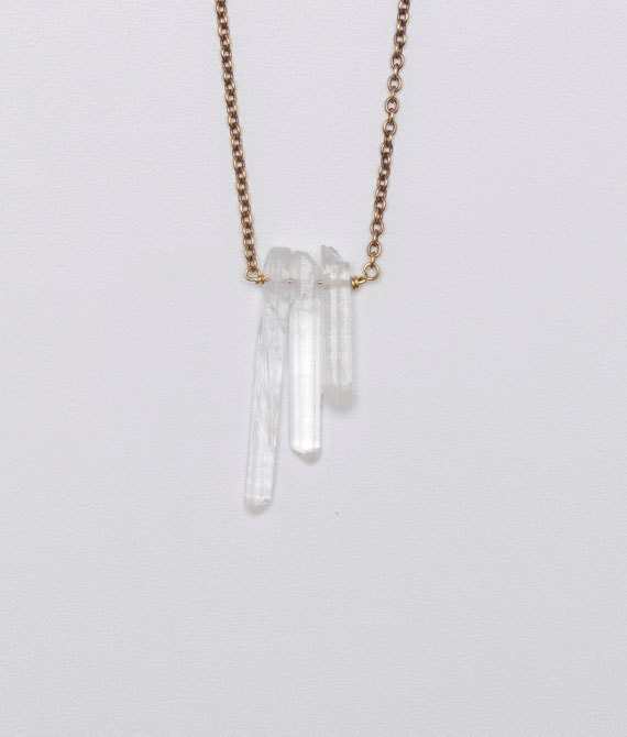 SALE  Three Quartz Stone Long Necklace