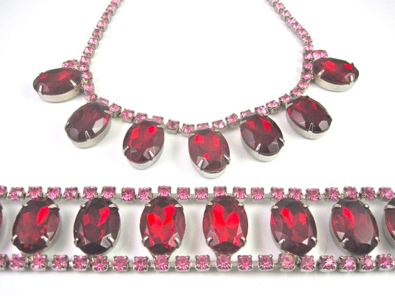 Vintage 50s Ruby Red and Bubble Gum Pink Rhinestone Necklace and Bracelet