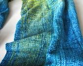 Lemongrass Lagoon handwoven chenille scarf
