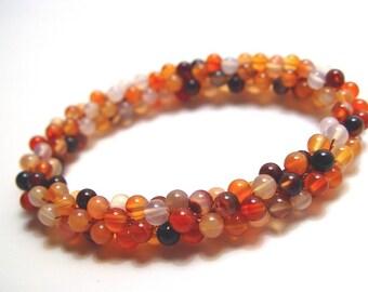Carnelian bead crochet bracelet