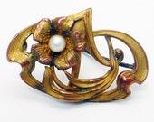 RARE Antique Art Nouveau Brooch Watch Enhancer