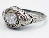 RESERVED 18K Antique Art Deco Filigree Diamond Engagement Ring