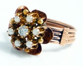 14K Rose Gold Antique Victorian Seed Pearl Diamond Flower Ring