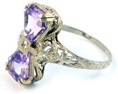 18K Antique Art Deco 1920s Amethyst Diamond Filigree Ring
