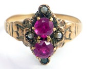 10K Antique Victorian CT Ruby Seed Pearl Ring Jewelry