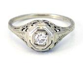 18K Antique Art Deco 1920s Diamond Filigree Engagement Ring