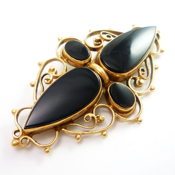 RESERVED 14K Antique Victorian Onyx Mourning Brooch Pin