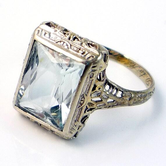 14K Antique Art Deco 2.55ct Aquamarine Filigree Ring