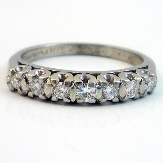 Platinum Vintage 1940s Retro Diamond Wedding Band Ring