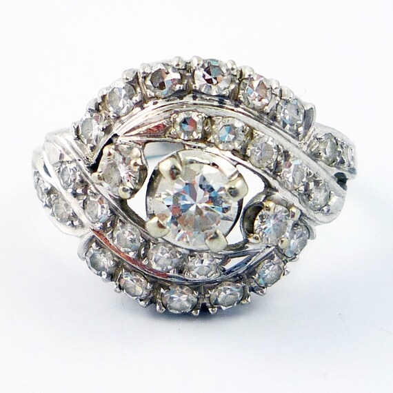 18K Vintage Retro 1950s GRANAT 1.15ctw Diamond Cocktail Ring