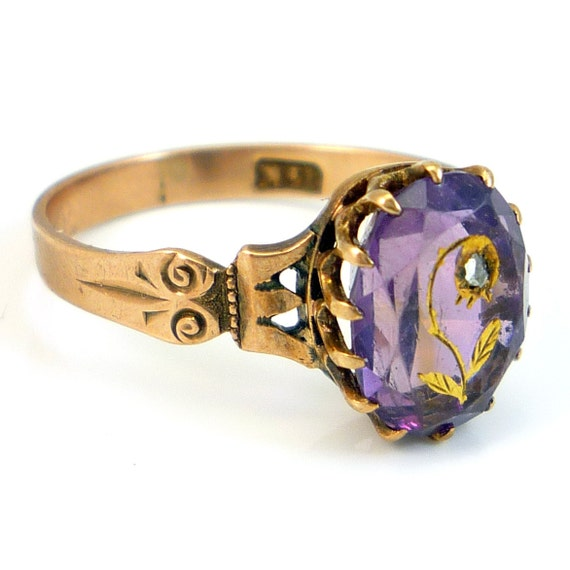14k Rose Gold Antique Victorian Amethyst Diamond Carved Flower